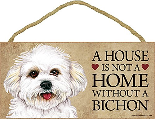 (Bichon Frise Wood Dog Sign Wall Plaque Photo Display Puppy Cut A House Is Not A + Bonus)