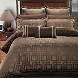 Deluxe & Rich contemporary Jacquard design in warm stylish tones Janet Comforter Set, Elegant and Contemporary bedding, 8 piece King / California King Size Comforter Set, charcoal brown and beige