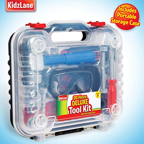 Durable Kids Tool Set, with Electronic Cordless Drill & 20 Pretend Play Construction Accessories, with a Sturdy Case,