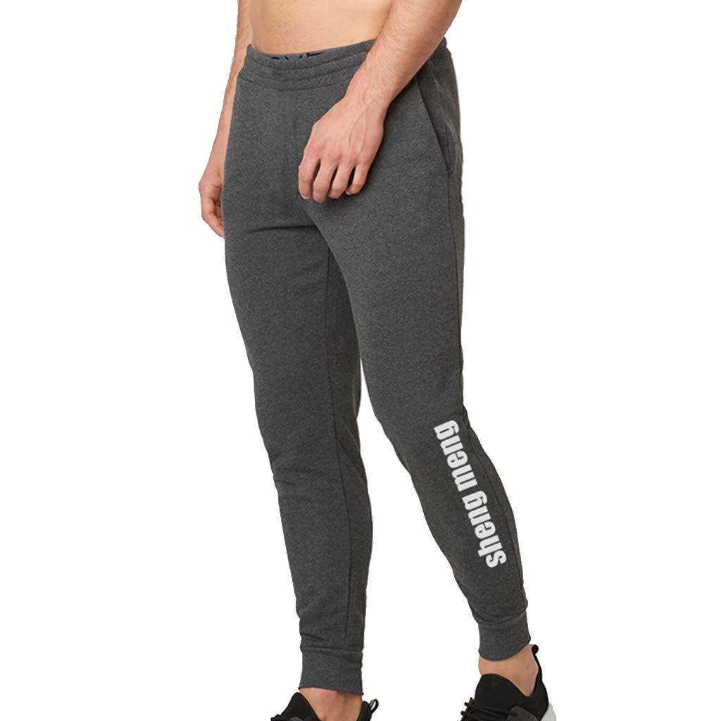 WUAI Mens Casual Pants Outdoors Running Jogger Drawstring Athletic Skinny Pants Sweatpants for Men(Dark Grey,US Size XS = Tag S)