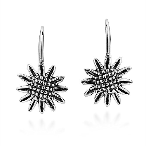 Brazen Beauty Sunflower .925 Sterling Silver Dangle Earrings