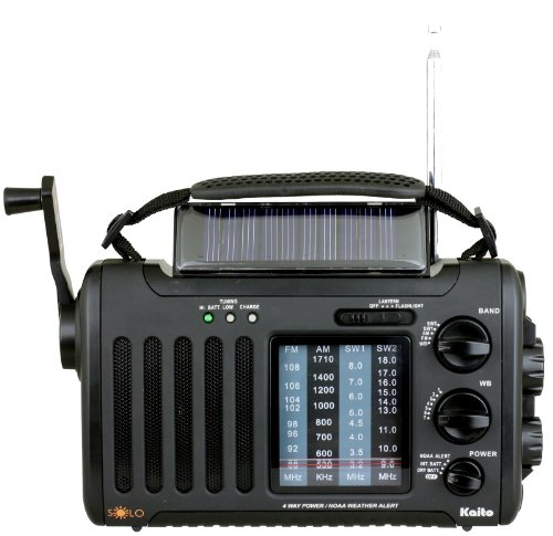 Kaito Voyager Solo KA450 Solar/Dynamo AM/FM//SW & NOAA Weather Emergency Radio with Alert & Cell Phone Charger, Jeep Style Color Black by Kaito