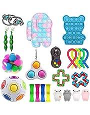 30Pcs Fidget Toy Set, Fidget Toys Pack Fidget Blocks, Sensory Fidget Toys Cheap, Sensory Pop Fidget Packs Relieves Stress Anxiety for Kids Adults