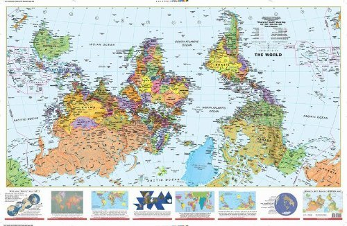 (What's Up? South! World Map (24x36 inch) Paper Rolled Map)