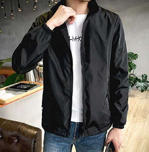 Howme Pure Zip Black Oversized Pocket Stand Full Men Color Collar Coat Jacket Fnw4r7qxFU