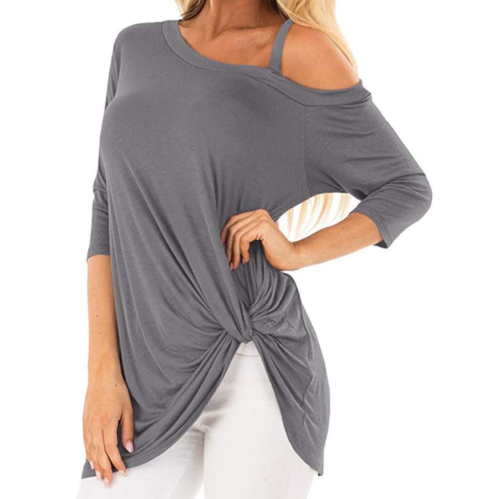 iQKA Women Oblique Off Shoulder Tee Shirt 3/4 Sleeve Knot Blouse Tunic Top(Gray ,Small by iQKA (Image #1)