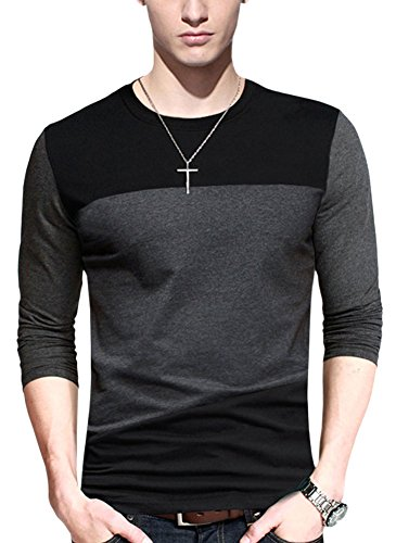 X&F Men's Fashionable Patchwork Crew Neck Long Sleeve T-shirt Basic Tops S, Grey