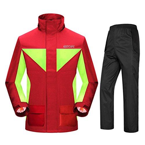 Regenbekleidung für wasserdichte Sportbekleidung Regenbekleidung Regenmantel Regenanzug für Männer Wiederverwendbar (Regenjacke und Regenhose Set) Erwachsene regendicht winddicht mit Kapuze Outdoor-Ar