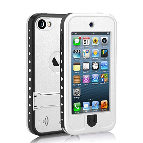 Waterproof Case for iPod 5 iPod 6, Meritcase Waterproof Shockproof Dirtproof Snowproof Case Cover with Kickstand for Apple iPod Touch 5th/6th Generation for Swimming Diving Surfing (White)