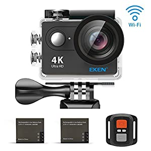 EKEN H9R 4K Action Camera, Full HD Wifi Waterproof Sports Camera with 4K25/ 1080P60/ 720P120fps Video, 12MP Photo and 170 Wide-Angle Lens, includes 18 Mountings Kit, 2 Batteries
