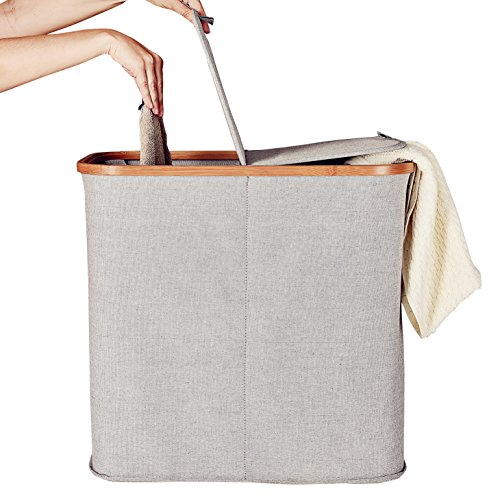 Laundry Hamper with Double Lid, Bamboo Fabric Laundry Basket Bin Clothes Sorter, Easy Assembly, 90 L, Grey