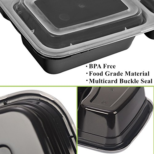 50 SZUAH Meal Prep Containers - Bento Lunch Boxes with Lids - 2 Compartment Food Containers, BPA Free, Stackable & Reusable, Dishwasher/Microwave/Freezer Safe - 34 oz … … by SZUAH (Image #2)