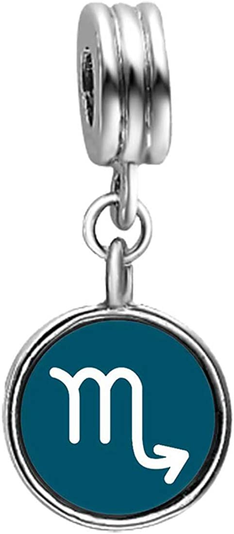 GiftJewelryShop Scorpio Zodiac Bead Charm Photo Topaz Crystal November Birthstone Flower Dangle Charm Bracelets