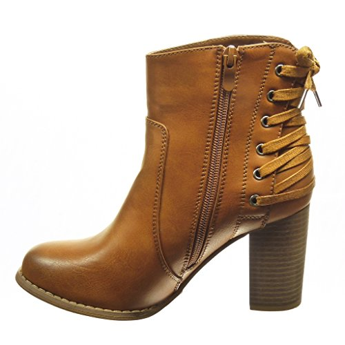 Angkorly - Women's Fashion Shoes Ankle boots - Booty - low boots - laces Block high heel 8 CM Camel FO8JtudZId
