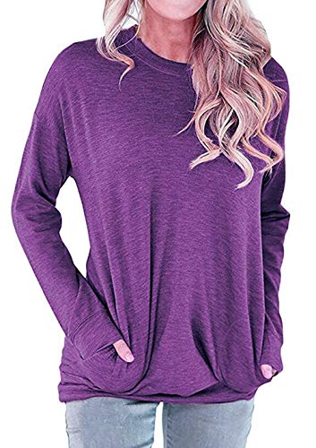 Shawhuwa Women Solid Color Round Neck Casual Loose Long Sleeve Sweatshirt T-Shirts Tops Blouse Purple Medium