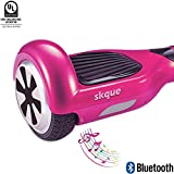 Self Balancing Scooter (MAX 220 lbs), Skque 6.5' I1.2 UL2272 Smart Two Wheel Self Balancing Electric Scooter with Bluetooth Speaker and LED Lights, Pink