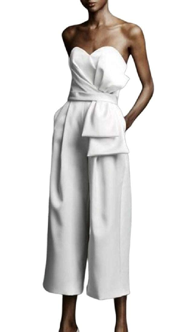 CRYYU Women Pockets Strapless Party Bow Tie Wide Leg Stylish Jumpsuits Romper