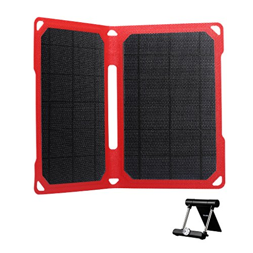 SUAOKI 14W Foldable Portable Solar Charger ETFE Solar Cells with Intelligent Charging Technology & Dual Port for Cell Phone iPhone Samsung iPad Tablet and more (Black) by SUAOKI