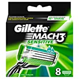 Gillette Mach 3 Sensitive Power Razor Blades - (Pack of 8)