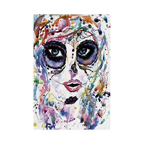 Polyester Garden Flag Outdoor Flag House Flag Banner,Sugar Skull Decor,Halloween Girl with Sugar Skull Makeup Watercolor Painting Style Creepy Decorative,Multicolor,for Wedding Anniversary Home -