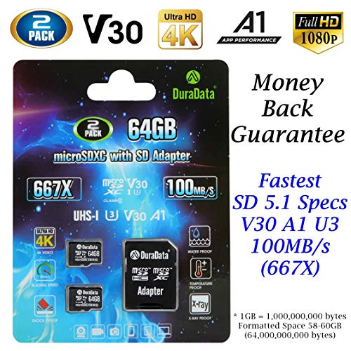 2-Pack 64GB MicroSD Card Plus Adapter – Amplim 2X 64 GB Micro SD SDXC Memory Card 100MB/s V30 A1 U3 UHD 4K Video MicroSDXC Card for GoPro Camera Galaxy LG Moto Xperia Nintendo Canon Nikon DJI Fire