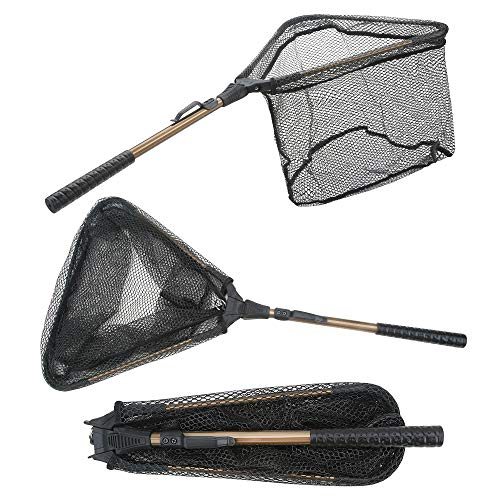 Folding Fishing Net - Yvleen Collapsible Fish Landing Net Robust Aluminum Pole Handle and Durable Nylon Mesh 16inch Hoop Size
