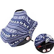 Nursing Cover Carseat Canopy Baby Car Seat Covers Super Soft&Breathable for Boys Girls Breastfeeding,High Chair,Shopping Cart, Stroller Cover-Best Stretchy Infinity Shawl Scarf(Ethnic Pattern