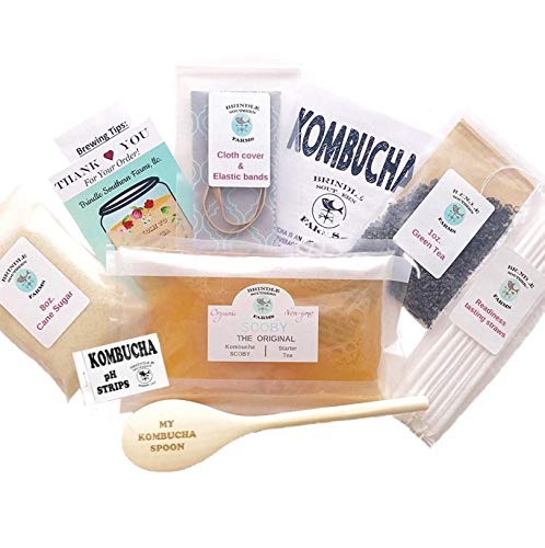 Kombucha making kit: The kit includes all the basic organic ingredients needed to make a 1 gallon batch of homemade kombucha. SCOBY, starter tea, spoon, sugar, tea and more!