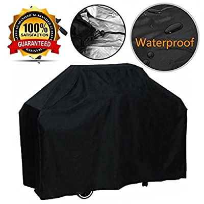 PEDY Grill Cover, Medium 57-Inch BBQ Cover Waterproof, Heavy Duty Gas Grill Cover for Weber, Holland, Jenn Air, Brinkmann and Char Broil -Black