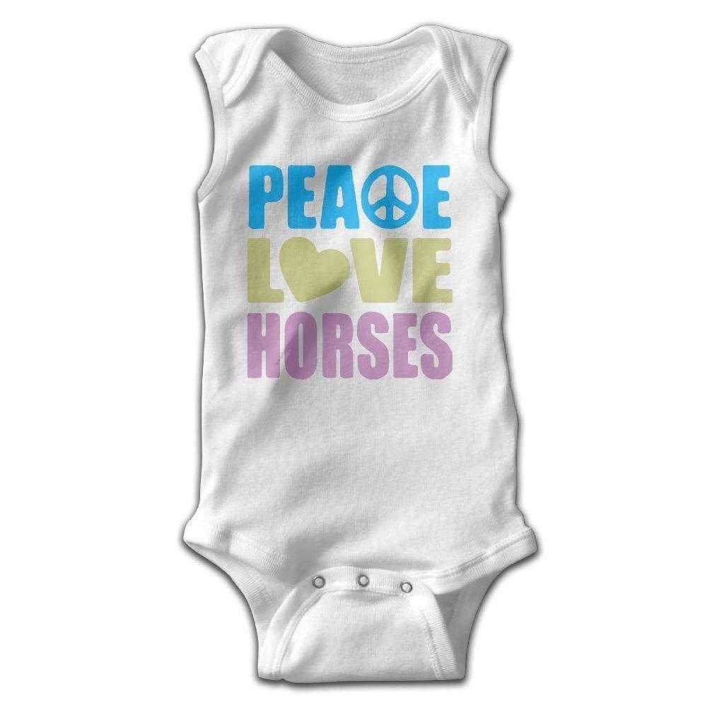 Peace Love Horses Baby Newborn Crawling Clothes Sleeveless Romper Bodysuit Onesies Jumpsuit White