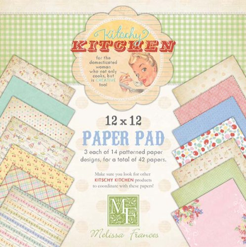 Melissa Frances 12-Inch by 12-Inch Kitschy Kitchen Paper Pad, 42 Sheets Per Pad