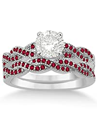 Infinity Style Twisted Ruby Bridal Set Setting in Palladium (0.55ct) (No center stone included)
