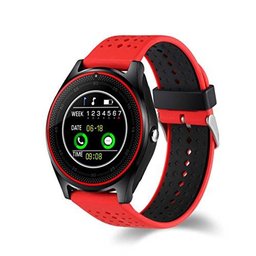 Rumas V9 0.3M Camera Smart Watch with Sleep Minitor - 4.0 BLE 380mAh 1.22'' inch Screen - Pedometer Sport Activity Monitor Mate Smart Bracelet (Red) by Rumas