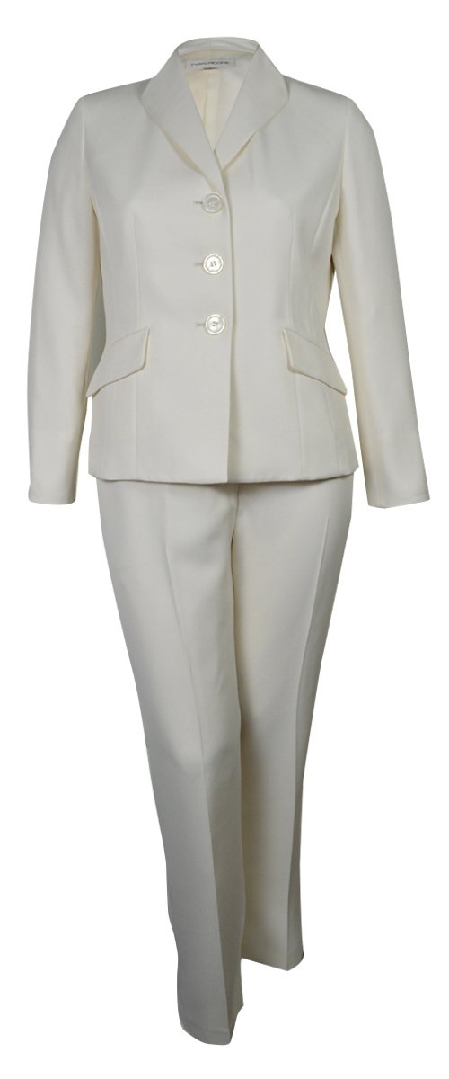 Evan Picone Women's City Chic Textured Three Button Pant Suit (8, Ivory)