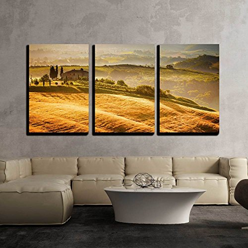 Tuscany Italy Landscape - wall26 - 3 Piece Canvas Wall Art - View of Typical Tuscany Landscape - Modern Home Decor Stretched and Framed Ready to Hang - 16