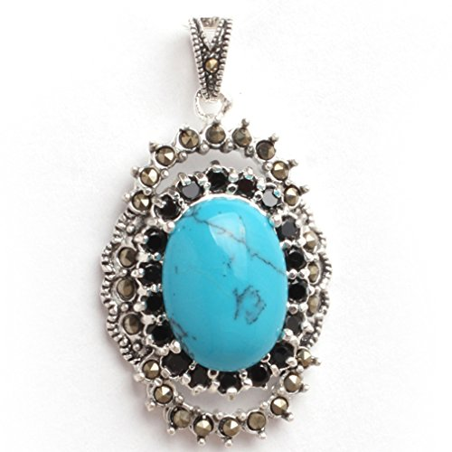 20x40mm Oval Dyed Blue Turquoise Beads Marcasite Tibetan Silver Pendant