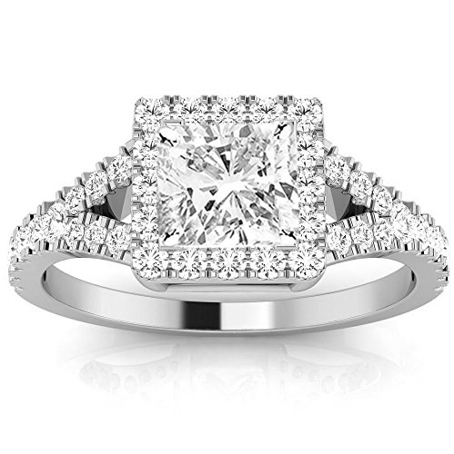 0.85 Cttw 14K White Gold Cushion Cut Halo Style Double Row Pave Split Shank Diamond Engagement Ring with a 0.5 Carat I-J Color SI1-SI2 Clarity Center Image