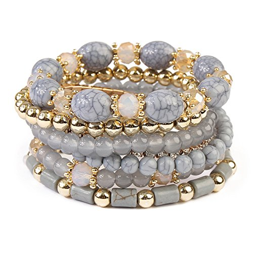 KPA Fashion Women's Multi-layer Vintage Natural Stone Turquoise Beads Irregular Elastic Jewelry