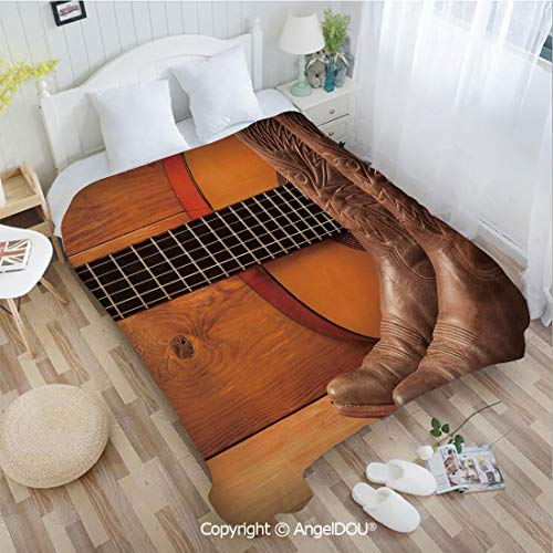 AngelDOU Printed Blanket Soft Quilt Bed Throws W31 xL47 American Country Music Theme Guitar Instrument and Cowboy Shoes on Wood Image Decorat Bed Cover Air Condition Blankets.