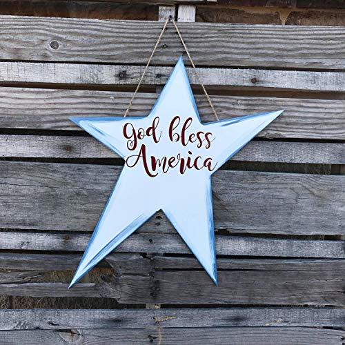WoodSign MarthaFox Finished God Bless America Patriotic Star Painted Door Hanger Wall Decor Art