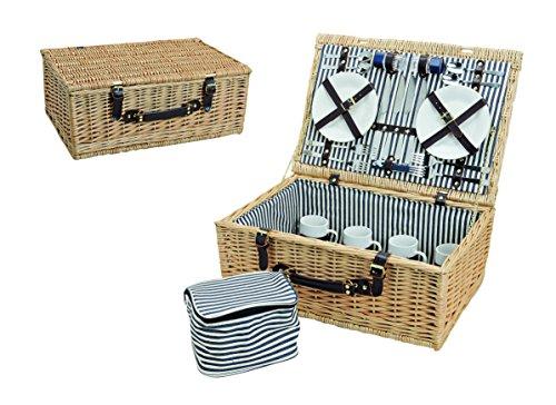 Picknickkorb, beige blau weiß | Picknick Set für 4 Personen | 25 Teile, 54x37x21cm, 4,6kg