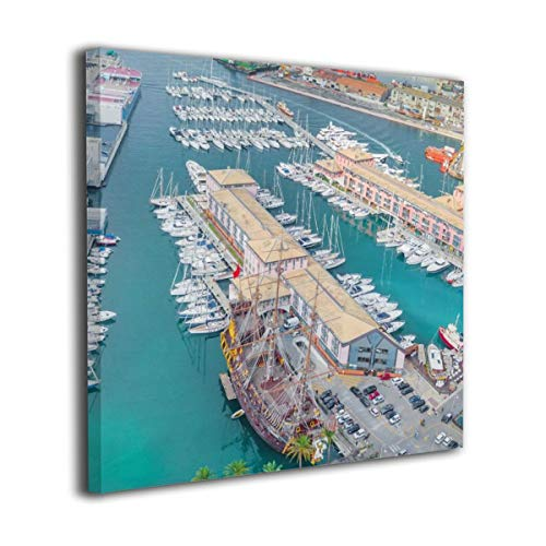 (Baohuju Scenic View From Above On The Port Of Genoa, Italy Canvas Wall Pictures Artwork Printed Decor Decoration For Living Room Bedroom Bathroom 20