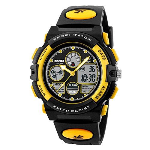 Price comparison product image Children Digital Sports Watch Analog Quartz Dual Time Zone Outdoor 50M Waterproof PU Band EL Light Wrist Watch Yellow