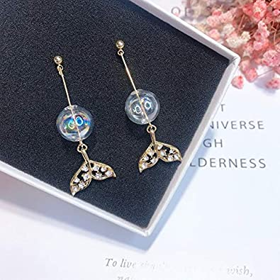 YINLIN Blink Whale Tail Ocean Animal Tail fish Dangle Earrings Ablaze Rhinestore Crystal With Pearl Jewelry