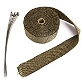 TOOGOO Exhaust Tube Thermal Insulation Collector Tape Motorcycle Titanium Width 5 cm, brown