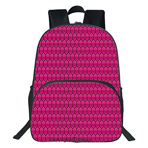 (Oobon Kids Toddler School Waterproof 3D Cartoon Backpack, Honeycomb Pattern Nature Inspired Design with Monochrome Color Scheme Print Decorative, Fits 14 Inch Laptop)