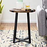 WE Furniture AZF18MWSTDW Side Table, Dark Walnut