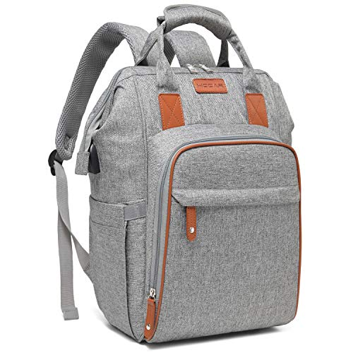 Baby Diaper Bag, Multi-Function Travel Baby Bag Backpack for Mom and Dad with USB Charging Port and Stroller Straps, Unisex Maternity Baby Nappy Bag for Girl and Boys, Stylish and Lightweight, Grey