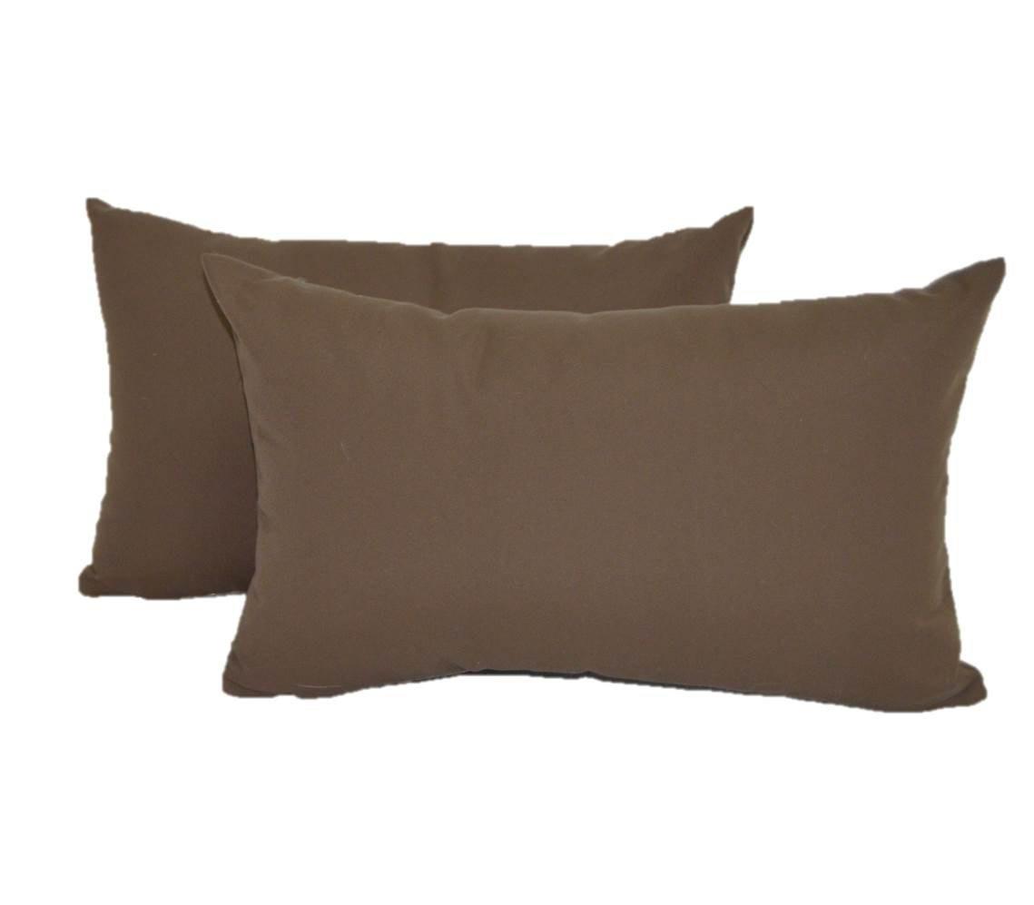 Set of 2 Indoor / Outdoor Decorative Lumbar / Rectangle Pillows - Solid Chocolate Brown Fabric - Choose Size (11'' x 19'')