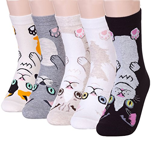 DearMy Funny Animal Design Novelty Casual Cotton Crew Socks| Good for Gift Idea| One Size Fits All (Vivid Cat 5 Pairs)